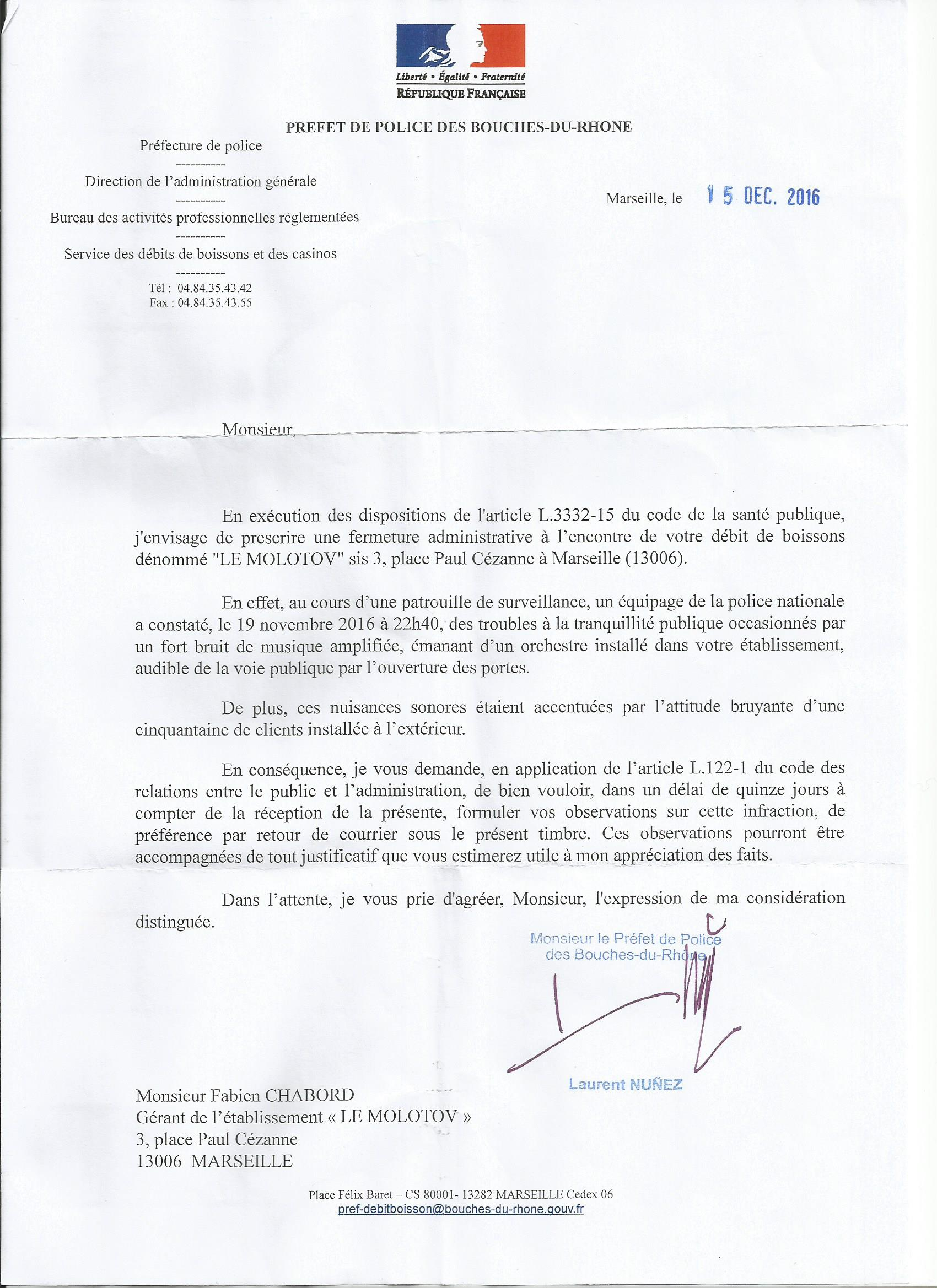 police lettre administrative