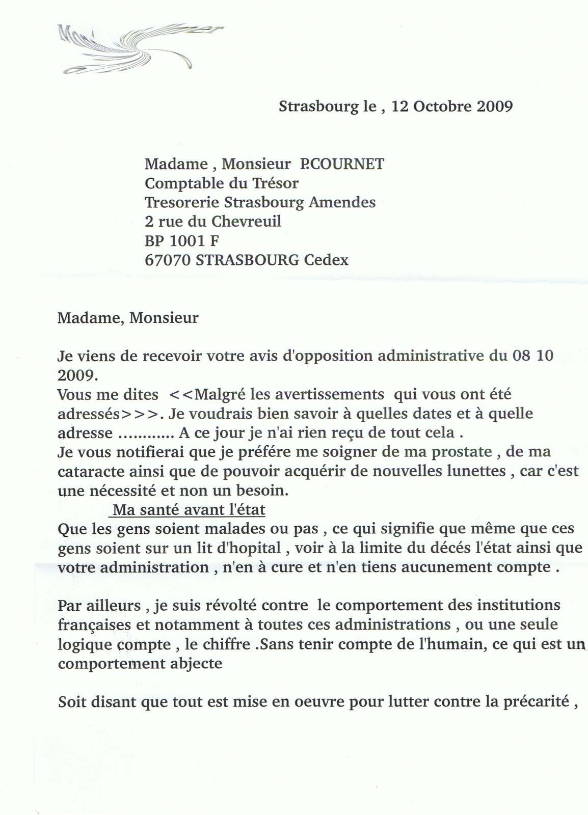 modele lettre contestation opposition administrative