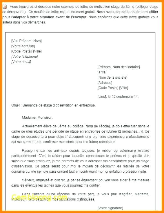 Lettre De Motivation Stage Veterinaire Alpes Ms